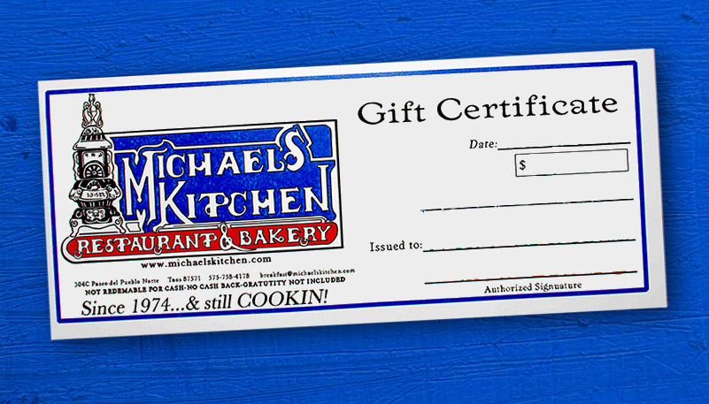 Michael's Kitchen gift certificate